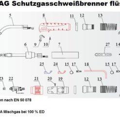 240 MIG/MAG Schutzgasschweißbrenner flüssiggekühlt gesteckte Gasdüse