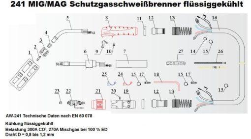 240 MIG/MAG Schutzgasschweißbrenner flüssiggekühlt gesteckte Gasdüse-0
