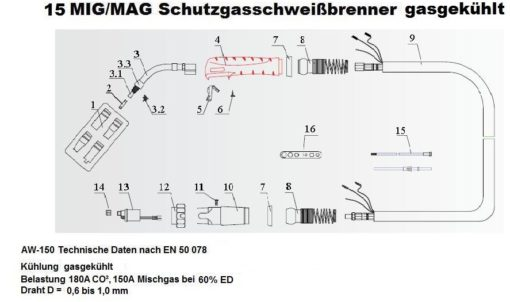 15 MIG/MAG Schutzgasschweißbrenner gasgekühlt gesteckte Gasdüse-1235