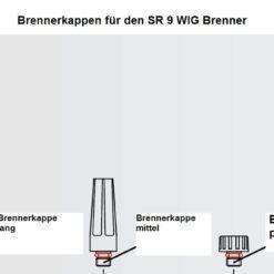 Brennerkappen für den SR 9 WIG - Brenner , in drei Längen ( kurz, mittel und lang ) lieferbar. Abbildung kann abweichen