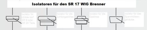 Isolatoren für den SR 17 WIG - Brenner, In zwei Größen lieferbar. Abbildung kann abweichen