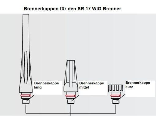 Brennerkappen für den SR 17 WIG - Brenner , in drei Längen ( kurz, mittel und lang ) lieferbar. Abbildung kann abweichen