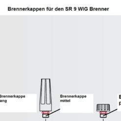 Brennerkappen für den SR 20 WIG - Brenner , in drei Längen ( kurz, mittel und lang ) lieferbar. Abbildung kann abweichen