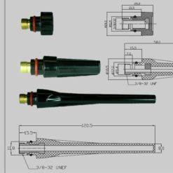 Brennerkappen für den SR 26 WIG - Brenner , in drei Längen ( kurz, mittel und lang ) lieferbar. Abbildung kann abweichen