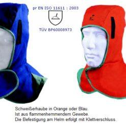 Schweißerhaube in Orange oder Blau / Abbildung kann Abweichen
