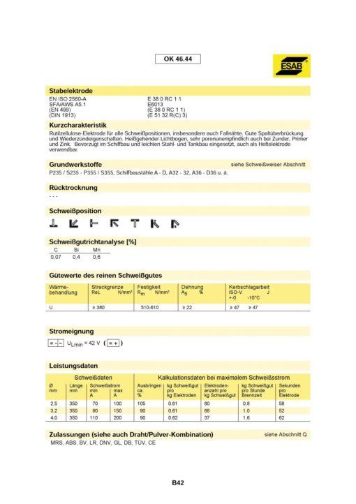 Stabelektroden OK 46.44 Ø 3,2 x 350 mm-982