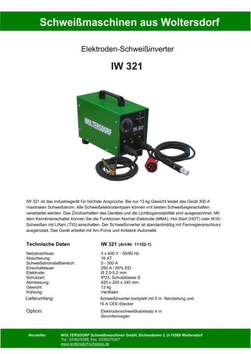 Elektroden-Schweißinverter / Schweißstromquelle IW 321-1079