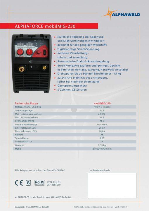 Alphaforce mobilMIG-250-1103